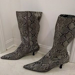 Fioni Brand Faux Snake Skin Heeled Boots
